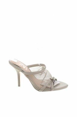 Чехли Zara, Размер 36, Цвят Сив, Текстил, еко кожа, Цена 14,75лв.