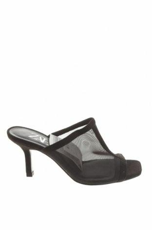 Γυναικείες παντόφλες Zara, Μέγεθος 36, Χρώμα Μαύρο, Κλωστοϋφαντουργικά προϊόντα, Τιμή 13,61€