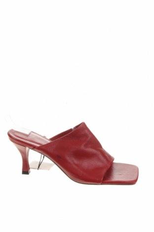 Γυναικείες παντόφλες Zara, Μέγεθος 38, Χρώμα Κόκκινο, Γνήσιο δέρμα, Τιμή 20,65€