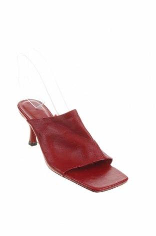 Γυναικείες παντόφλες Zara, Μέγεθος 38, Χρώμα Κόκκινο, Γνήσιο δέρμα, Τιμή 34,41€