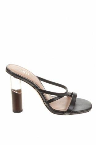 Чехли Zara, Размер 35, Цвят Черен, Еко кожа, Цена 13,52лв.