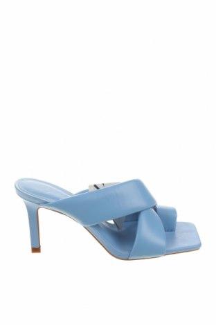 Γυναικείες παντόφλες Zara, Μέγεθος 37, Χρώμα Μπλέ, Γνήσιο δέρμα, Τιμή 30,54€