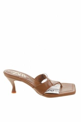 Γυναικείες παντόφλες Zara, Μέγεθος 38, Χρώμα Καφέ, Γνήσιο δέρμα, Τιμή 30,54€