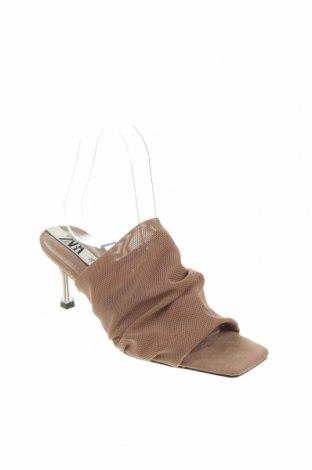 Γυναικείες παντόφλες Zara, Μέγεθος 36, Χρώμα  Μπέζ, Κλωστοϋφαντουργικά προϊόντα, Τιμή 17,78€