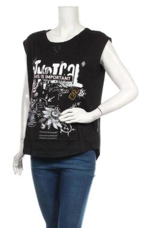 Дамска блуза Desigual, Размер L, Цвят Черен, Памук, Цена 35,40лв.