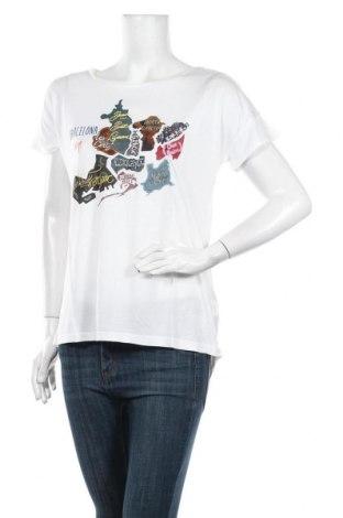Γυναικεία μπλούζα Desigual, Μέγεθος L, Χρώμα Λευκό, Μοντάλ, Τιμή 21,34€