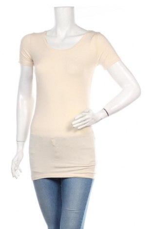 Дамска тениска Samsoe & Samsoe, Размер M, Цвят Бежов, 48% памук, 48% модал, 4% еластан, Цена 32,00лв.