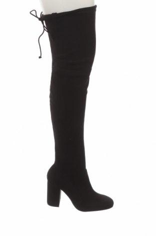 Дамски ботуши Bershka, Размер 37, Цвят Черен, Текстил, Цена 27,65лв.