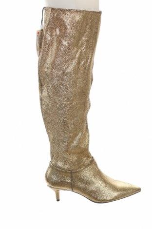 Дамски ботуши Zara, Размер 37, Цвят Златист, Текстил, Цена 27,25лв.