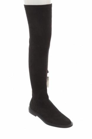 Cizme de damă Zara, Mărime 38, Culoare Negru, Textil, Preț 268,91 Lei