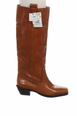 Γυναικείες μπότες Zara, Μέγεθος 41, Χρώμα Καφέ, Γνήσιο δέρμα, Τιμή 39,20€