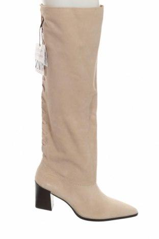 Γυναικείες μπότες Zara, Μέγεθος 40, Χρώμα  Μπέζ, Φυσικό σουέτ, Τιμή 28,75€