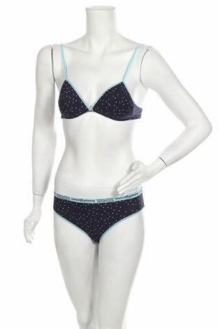 Дамски комплект, Размер XS, Цвят Син, 95% памук, 5% еластан, Цена 31,20лв.