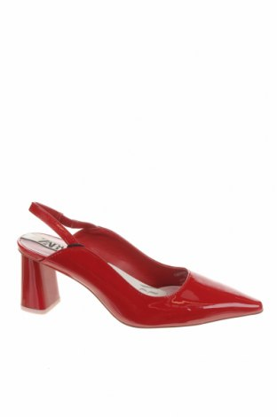 Дамски обувки Zara, Размер 36, Цвят Червен, Еко кожа, Цена 20,70лв.