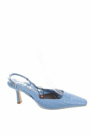 Дамски обувки Zara, Размер 37, Цвят Син, Естествена кожа, Цена 23,50лв.