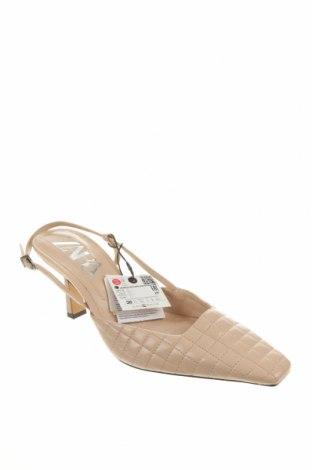 Încălțăminte de damă Zara, Mărime 38, Culoare Bej, Piele naturală, Preț 39,44 Lei