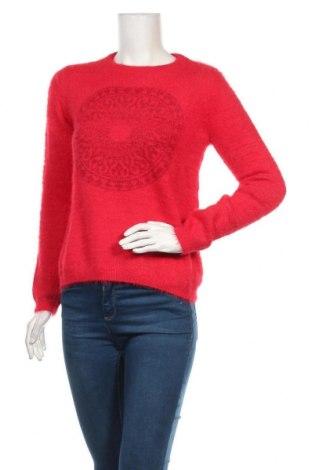 Дамски пуловер Desigual, Размер M, Цвят Червен, 71% полиамид, 23% акрил, 4% полиестер, 2% метални нишки, Цена 111,75лв.