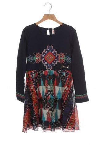 Dětské šaty  Desigual, Velikost 8-9y/ 134-140 cm, Barva Modrá, 59% bavlna, 39% polyester, 2% elastan, Cena  402,00Kč