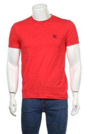 Pánské tričko  Calvin Klein Jeans, Velikost M, Barva Červená, Bavlna, Cena  782,00Kč