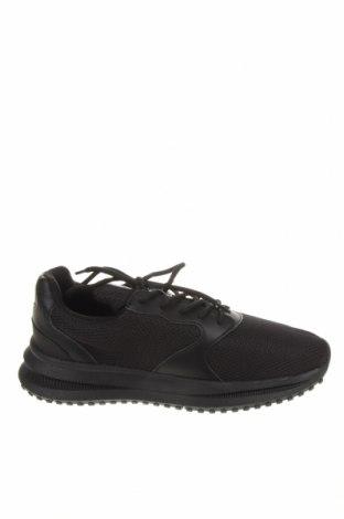 Ανδρικά παπούτσια Bershka, Μέγεθος 42, Χρώμα Μαύρο, Κλωστοϋφαντουργικά προϊόντα, δερματίνη, Τιμή 22,81€
