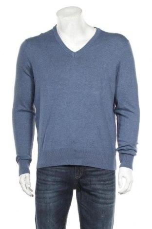 Мъжки пуловер Essentials by Tchibo, Размер M, Цвят Син, 80% памук, 20% полиамид, Цена 7,35лв.