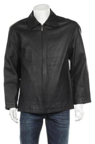 Ανδρικό δερμάτινο μπουφάν Angelo Litrico, Μέγεθος M, Χρώμα Μαύρο, Γνήσιο δέρμα, Τιμή 10,83€
