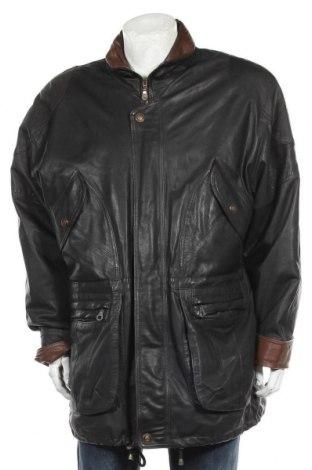Ανδρικό δερμάτινο μπουφάν Enrico Gorlani, Μέγεθος XL, Χρώμα Μαύρο, Γνήσιο δέρμα, Τιμή 19,87€
