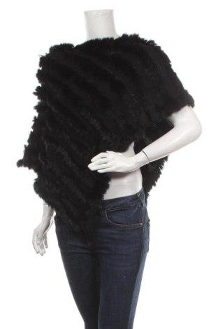 Пончо Free Quent, Размер M, Цвят Черен, Текстил, естествен косъм, Цена 33,60лв.