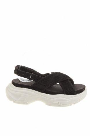 Sandale Bershka, Mărime 40, Culoare Negru, Textil, Preț 116,45 Lei