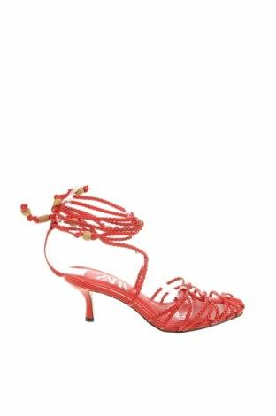 Sandály Zara, Velikost 37, Barva Červená, Eko kůže, Cena  202,00Kč