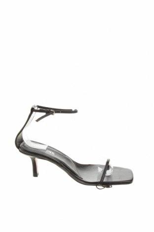 Сандали Zara, Размер 37, Цвят Черен, Естествена кожа, Цена 21,50лв.