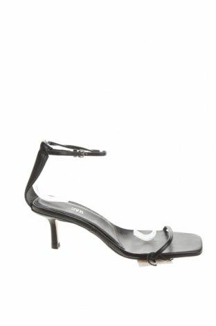 Сандали Zara, Размер 37, Цвят Черен, Естествена кожа, Цена 21,00лв.