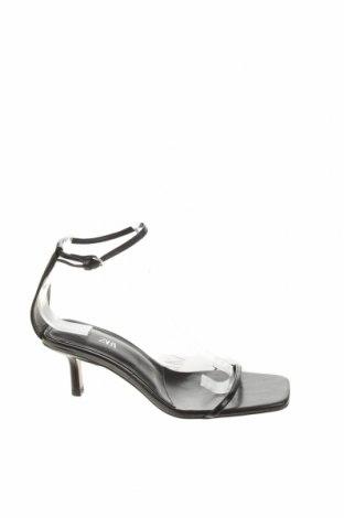 Сандали Zara, Размер 37, Цвят Черен, Естествена кожа, Цена 19,50лв.