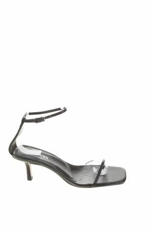 Сандали Zara, Размер 37, Цвят Черен, Естествена кожа, Цена 35,10лв.