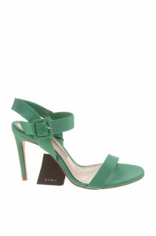 Sandale Zara, Mărime 37, Culoare Verde, Textil, Preț 170,23 Lei
