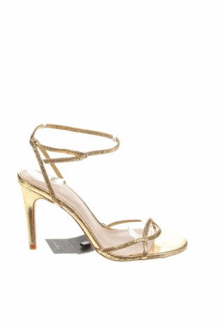 Σανδάλια Zara, Μέγεθος 37, Χρώμα Χρυσαφί, Δερματίνη, Τιμή 21,34€