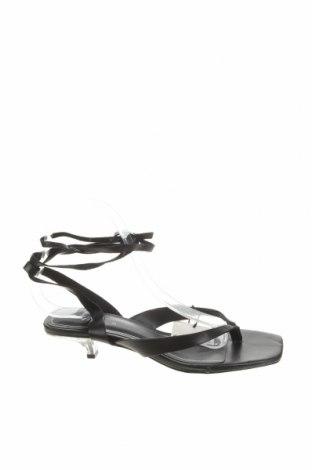 Сандали Zara, Размер 37, Цвят Черен, Естествена кожа, Цена 22,25лв.