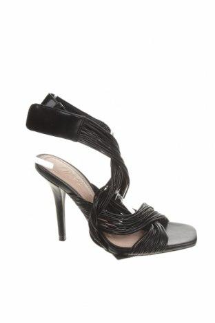 Сандали Zara, Размер 38, Цвят Черен, Еко кожа, Цена 17,25лв.