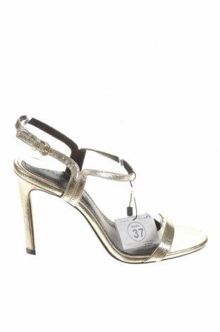 Σανδάλια Zara, Μέγεθος 37, Χρώμα Χρυσαφί, Δερματίνη, Τιμή 16,01€