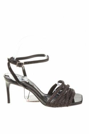 Сандали Zara, Размер 36, Цвят Черен, Еко кожа, текстил, Цена 31,05лв.