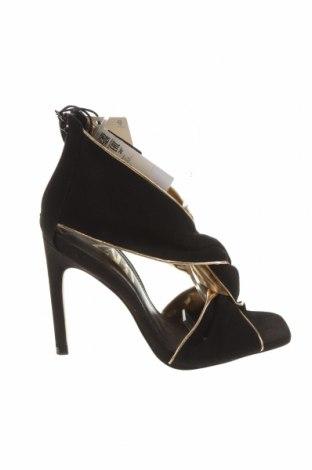 Sandály Zara, Velikost 36, Barva Černá, Přírodní velur , Cena  1185,00Kč