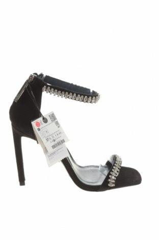 Σανδάλια Zara, Μέγεθος 37, Χρώμα Μαύρο, Φυσικό σουέτ, Τιμή 35,72€