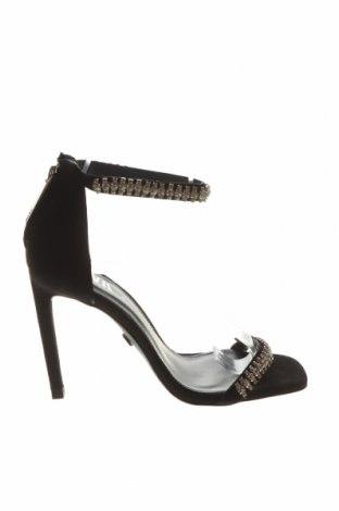 Сандали Zara, Размер 36, Цвят Черен, Естествен велур, Цена 64,50лв.