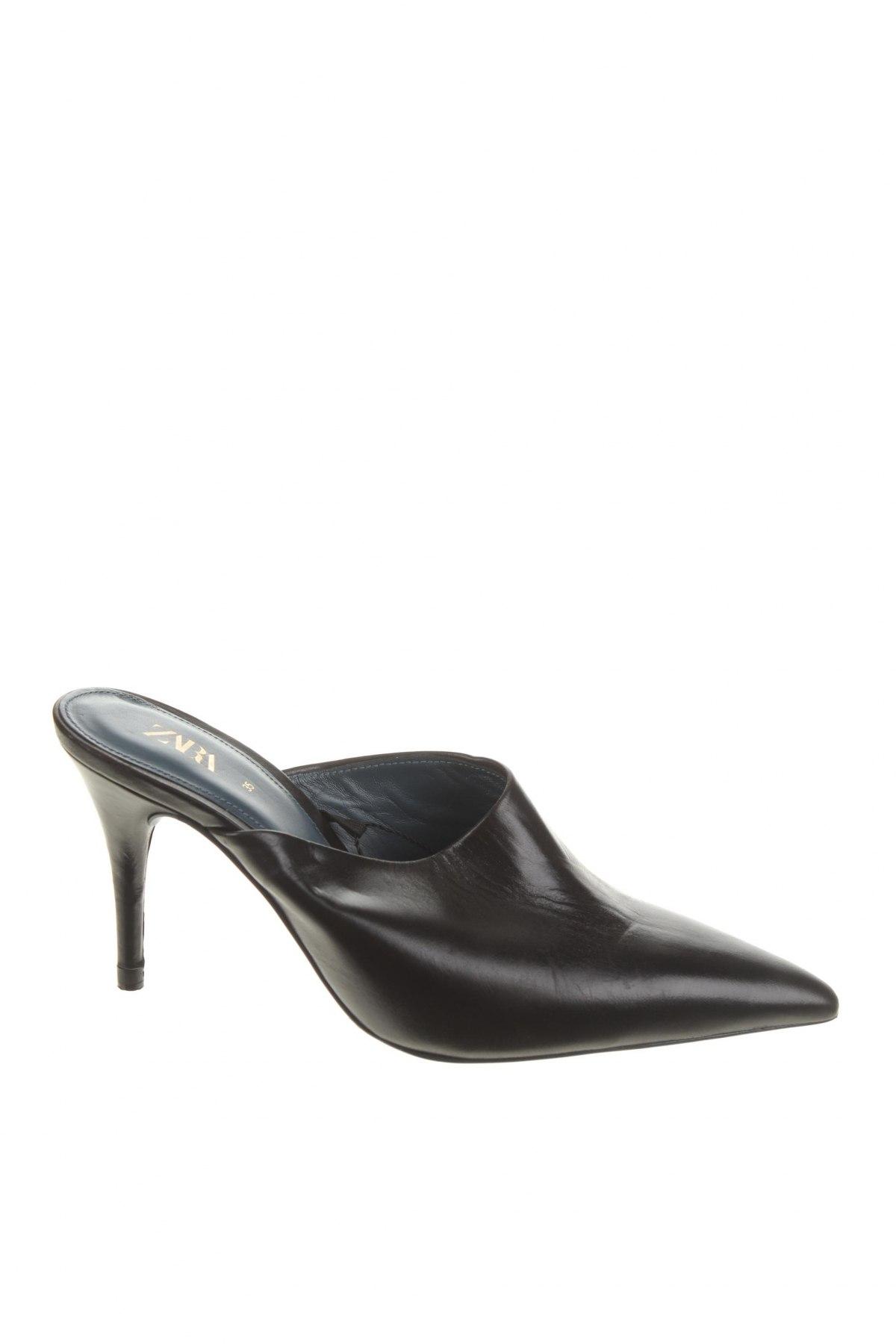 Чехли Zara, Размер 35, Цвят Черен, Естествена кожа, Цена 66,75лв.