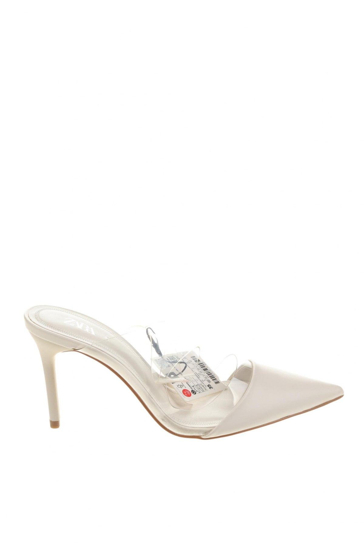 Чехли Zara, Размер 35, Цвят Бял, Еко кожа, Цена 44,25лв.
