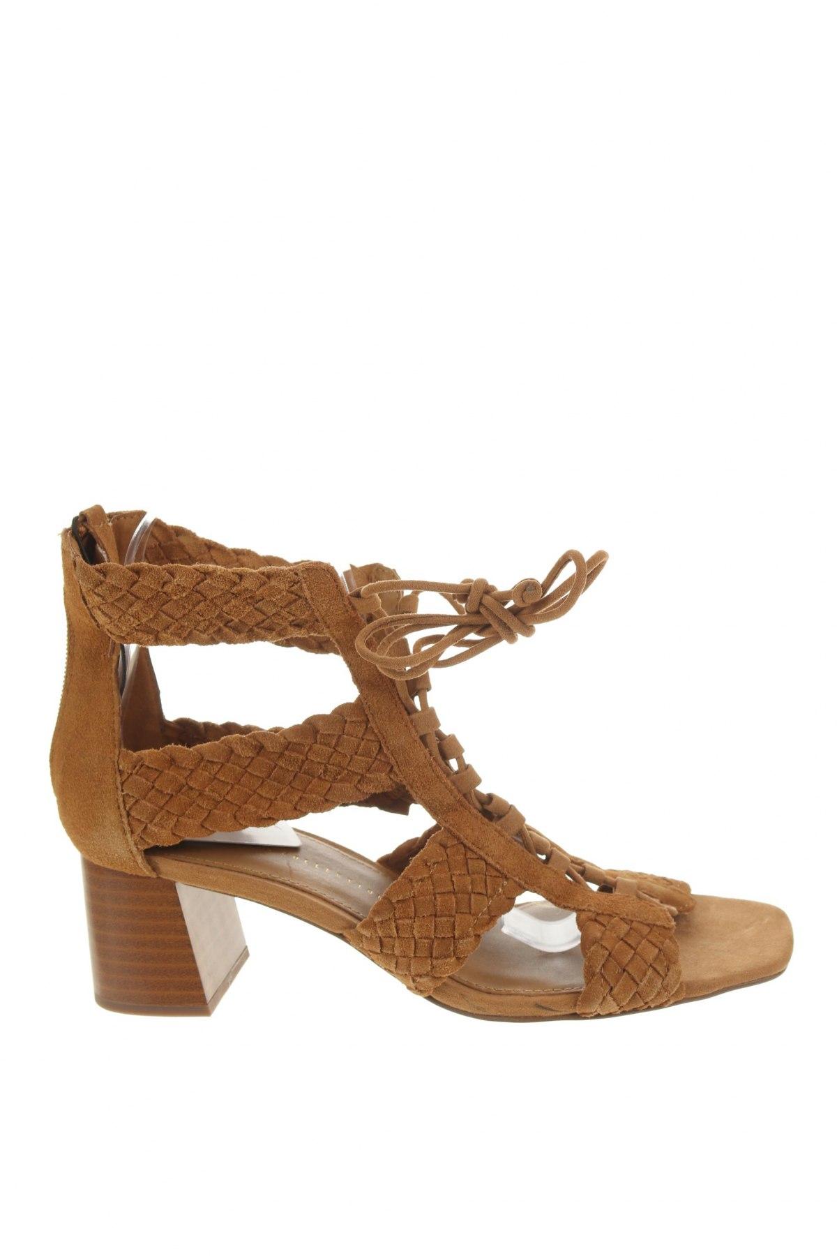 Сандали Zara, Размер 38, Цвят Кафяв, Естествен велур, Цена 64,50лв.