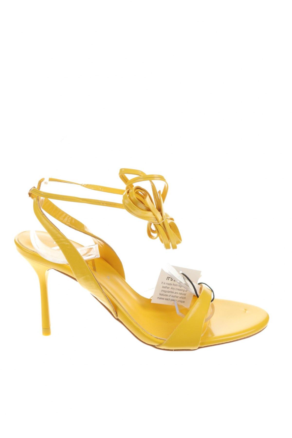 Σανδάλια Zara, Μέγεθος 36, Χρώμα Κίτρινο, Γνήσιο δέρμα, Τιμή 27,83€
