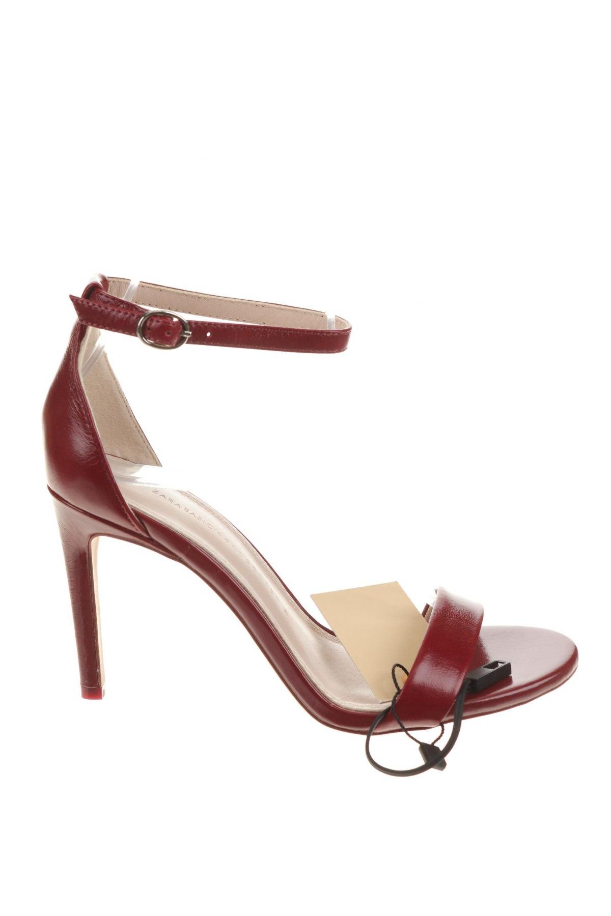 Σανδάλια Zara, Μέγεθος 37, Χρώμα Κόκκινο, Γνήσιο δέρμα, Τιμή 29,60€