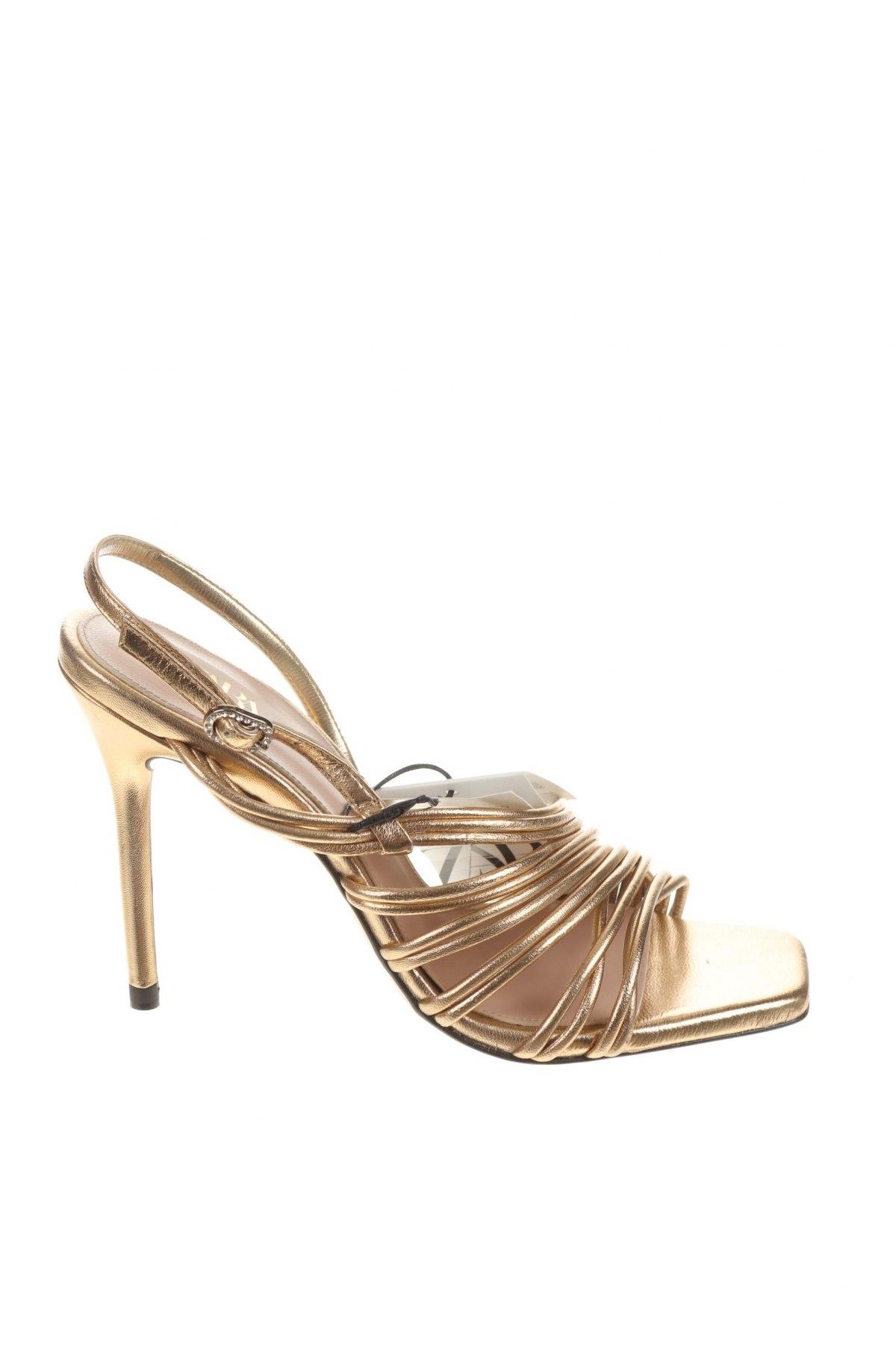 Σανδάλια Zara, Μέγεθος 37, Χρώμα Χρυσαφί, Γνήσιο δέρμα, Τιμή 38,27€