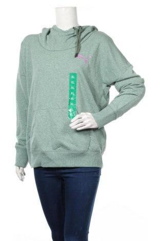 Дамски суичър PUMA, Размер XL, Цвят Зелен, 68% памук, 32% полиестер, Цена 25,83лв.